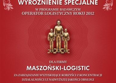 Maszoński Logistic - Gewinner der besonderen Auszeichnung  des Logistics Operator of the Year 2012.